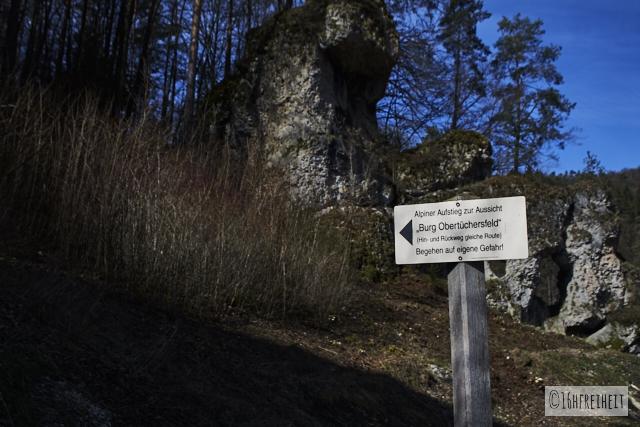 Alpiner Aufstieg zur Burg Obertüchersfeld